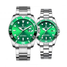 Couples Quartz Luminous Table Stainless Steel Watch