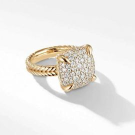 Fashion Micro Pave Ring in Sterling Silver with Yellow Gold Plating