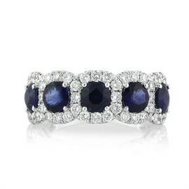 3.2 Ct Sapphire Round Cut Halo Band in Sterling Silver