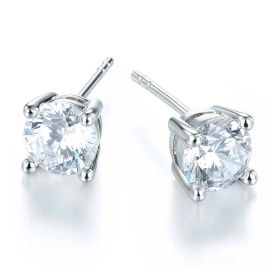 Classic Stud Earrings in White Gold