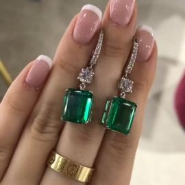 Green Emerald Cut Drops Earrings