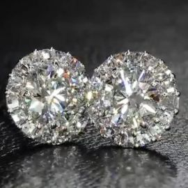 Brilliant Round Shaped Halo Stud Earring
