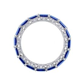 Sapphire Emerald Cut Eternity Band in Sterling Silver