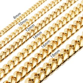 12mm Stainless Steel Cuban Chain in Gold