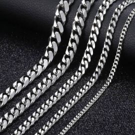 12mm 316L Stainless Steel Cuban Link Chain in White Gold
