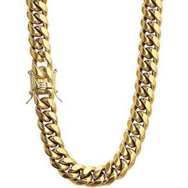 16mm Stainless Steel Cuban Chain in Gold