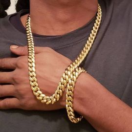 12mm Stainless Steel Cuban Link Chain Set in Gold