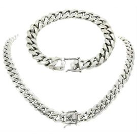 12mm Stainless Steel Cuban Link Chian Set in White Gold