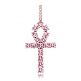 Pink Iced Ankh Pendant with 4mm 18