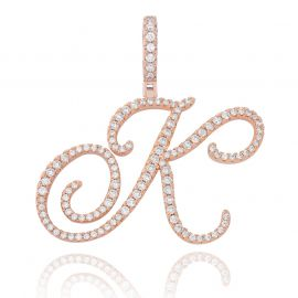 Cursive Style A to Z Initial Letters Pendant in Rose Gold