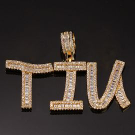 Iced Custom Baguette Letters Pendant in Gold