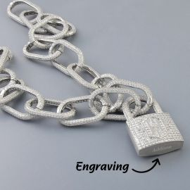 Iced Logo Locking Clasp Pendant with Adjustable Bike Link Chain