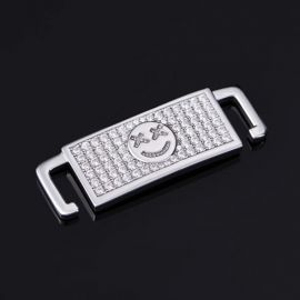 Iced Smiley Emoji Lace Lock in White Gold