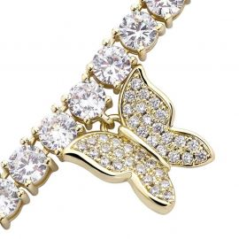 Women's Butterfly Tennis Chain in Gold