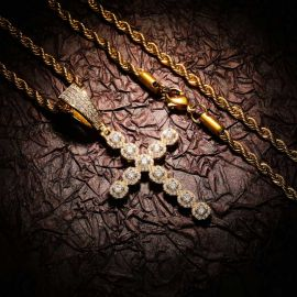 Iced Round Cut Diamonds Cross Pendant in Gold
