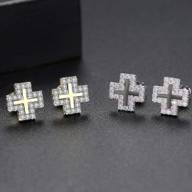 Iced Halo Cross Stud Earrings