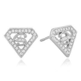 Diamond Shape S Stud Earrings in White Gold