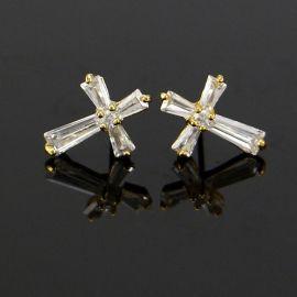 Iced Cross Stud Earrings in Gold