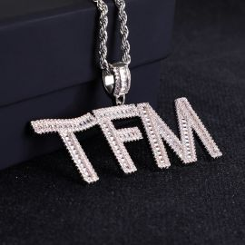 Iced Custom Baguette Letters Pendant in White Gold
