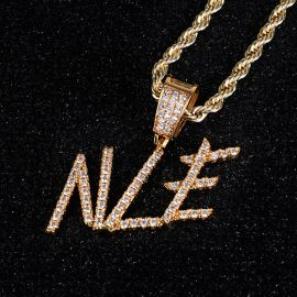 Brush Font Custom Letter Pendant in Gold