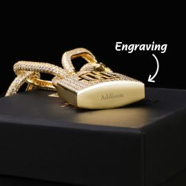 Iced Logo Locking Clasp Pendant with Adjustable Bike Link Chain in Gold