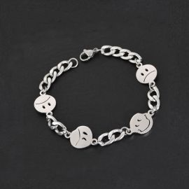 Smiley Face Titanium Steel Cuban Bracelet
