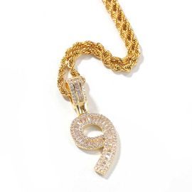 Iced Baguette Numbers Pendant in Gold