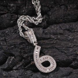 Iced Baguette Numbers Pendant in White Gold