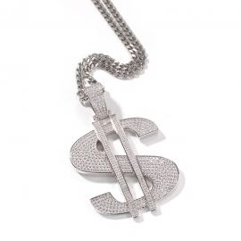 Iced Big Dollar Pendant in White Gold