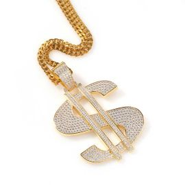 Iced Big Dollar Pendant in Gold