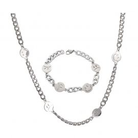Smiley Face Titanium Steel Cuban Chain Set