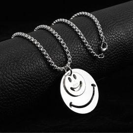 Double Smiley Face Titanium Steel Pendant