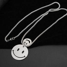 Double Smile Face Titanium Steel Pendant