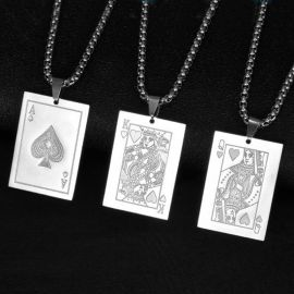 Poker Card A Q J 10 Stainless Steel Pendant