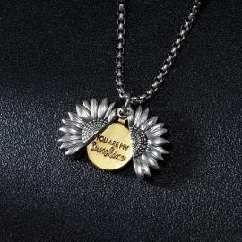 """You Are My Sunshine"" Open Sunflower Titanium Steel Pendant"