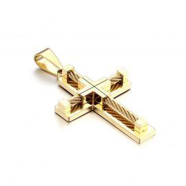18K Gold Stainless Steel Cross Pendant