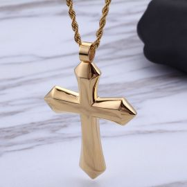 Simple Stainless Steel Cross Pendant in Gold