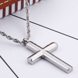 Cylinder Stainless Steel Cross Pendant