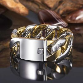 23mm 316L Stainless Steel Two-Tone Cuban Bracelet