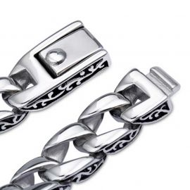 Vintage Totem Stainless Steel Cuban Bracelet