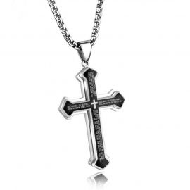 Layered Bible Cross Titanium Steel Pendant