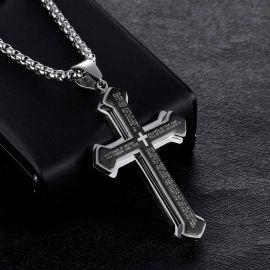 Layered Bible Cross Titanium Steel Pendant
