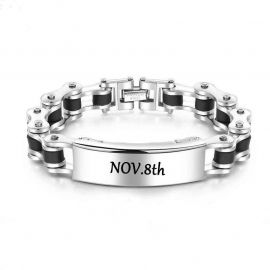 Men's Motorcycle Chain Engraved ID Bracelet
