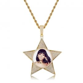 Iced Pentagram Photo Pendant in Gold