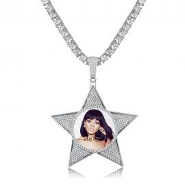 Iced Custom Pentagram Photo Pendant in Silver