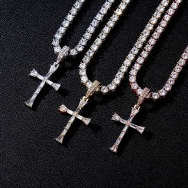 """Iced Baguette Diamonds Cross Pendant with 4mm 18"""" Tennis Chain"""