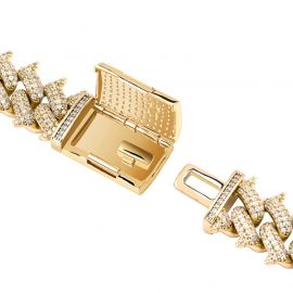 Iced 14mm Thorn Miami Cuban Chain with Big Box Clasp in Gold