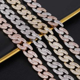 Iced 14mm Baguette Stone Cuban Chain with Box Clasp