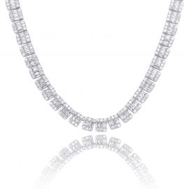 Iced 10mm Baguette & Round Stone Tennis Chain in White Gold