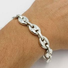 "7mm 8"" Coffee Bean Bracelet in Stainless Steel"